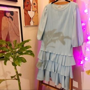 Baby Blue Ruffle Mid Length Spring Dress